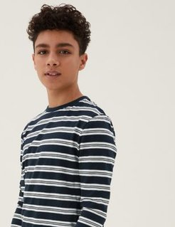 Cotton Striped Top (6-16 Yrs) - Navy - 6-7 Years