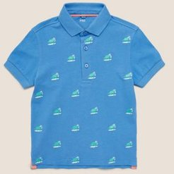 Pure Cotton Dinosaur Embroidered Polo Shirt (2-7 Yrs) - Blue Mix - 2-3 Years