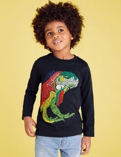 Pure Cotton Embroidered Iguana Top (2-7 Yrs) - Navy - 2-3 Years