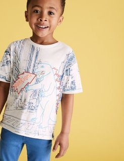 Cotton Embroidered Dinosaur T-Shirt (2-7 Yrs) - White - 4-5 Years