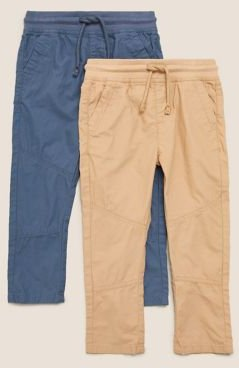 2pk Pure Cotton Trousers (2-7 Yrs) - Sand Mix - 3-4 Years