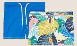 2pk Palm Print and Solid Swim Trunks (2-7 Yrs) - Blue Mix - 2-3 Years