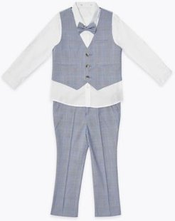 4 Piece Checked Suit Outfit (2-7 Yrs) - Light Blue - 2-3 Years