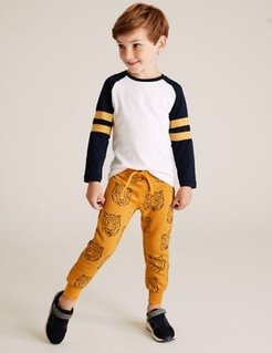 Regular Cotton Rich Tiger Face Joggers (2-7 Yrs) - Bright Yellow - 2-3 Years