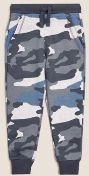 Organic Cotton Camouflage Joggers - Blue Mix - 2-3 Years