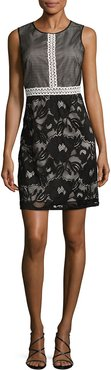 Adrianna Papell Embroidered Mesh Flared Dress