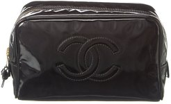 Chanel Black Patent Leather Cosmetic Pouch