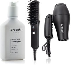 BROCCHI Travel Hair Dryer, Hot Air Brush & Amino Acid Shampoo Bundle