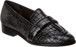 SCHUTZ Romina Croc-Embossed Leather Loafer