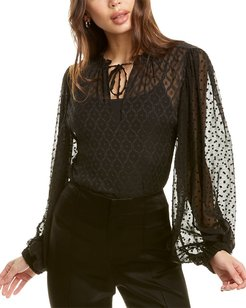 alice + olivia Julius Silk-Blend Top