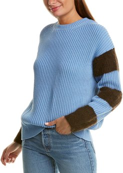 Chinti & Parker Contrast Sleeve Alpaca-Blend Sweater