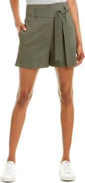 Theory Belted Linen-Blend Short