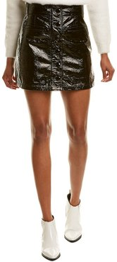 7 For All Mankind Button Front Leather Mini Skirt