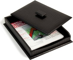 """Bey-Berk """"Croco"""" Leather Letter Tray with Cover"""