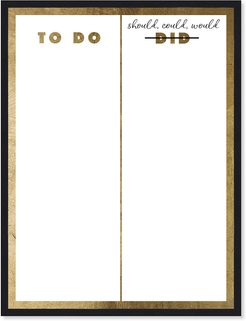 To Do List Gold- Dry Erase Board