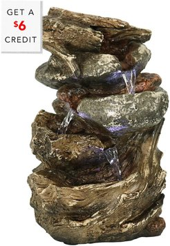 Sunnydaze Tiered Rock and Log Tabletop Fountain Feature with LED Lights