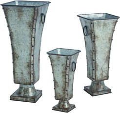 Set of 3 Transpac Metal Silver Spring Regal Containers
