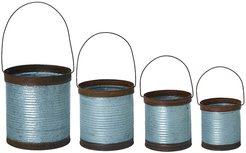 Set of 4 - Round Transpac Metal Silver Spring Rustic Containers