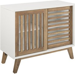 Hewson 36in Modern Sliding Slat Door Accent Storage Console