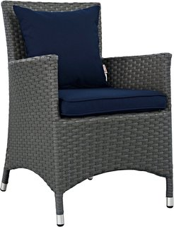 Modway Sojourn Dining Outdoor Patio Wicker Rattan Sunbrella Armchair