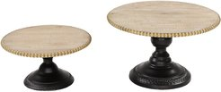 UMA Set Of 2 Natural Beige Wood Round Serving Trays On Stands