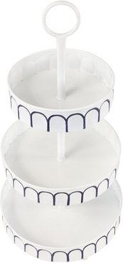 UMA Tall White Metal 3-Tier Round Serving Tray Stand