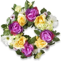 National Tree 18in Decorated Wreaths with Daisies, Roses & Hydrangeas
