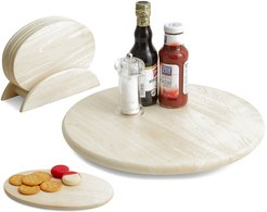 Woodard & Charles Lazy Susan with 7pc Oval Board Serving Tray Set