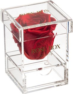 Rose Box NYC Single Red Flame Rose Jewelry Box