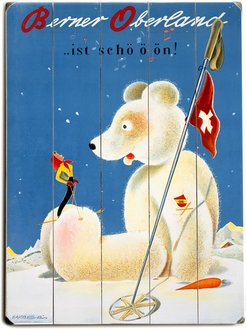 Swiss Berner Oberland Snow Ski Poster Planked Wood Wall Decor By Posters Please
