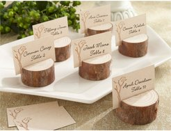 Kate Aspen Rustic Real-Wood Set of 12 Place Card Holders