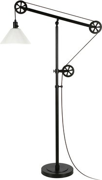 Abraham + Ivy Descartes Blackened Bronze Floor Lamp with White Milk Glass  Shade and Pulley System