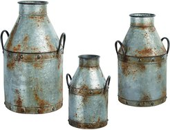 Set of 3 Transpac Metal Silver Spring Rustic Milk Can Containers
