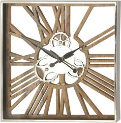 Square Wood, Aluminum & Stainless Steel Gear Wall Clock