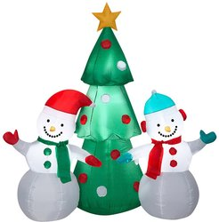 National Tree Company 5ft Inflatable Snowman Family Hugging A Christmas Tree