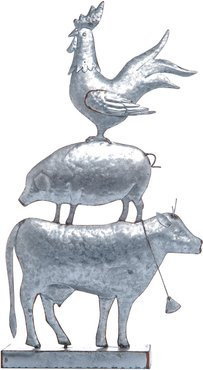 Transpac Metal Silver Spring Stacked Farm Animals Standing Decor