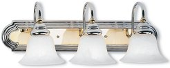 Livex Belmont 3-Light Polished Chrome & PB Bath-Light