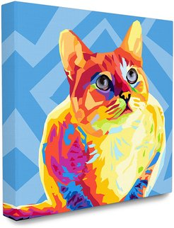 Stupell The Stupell Home Decor Collection Vibrant Abstract Posterized Rainbow Cat with Blue Pattern Background
