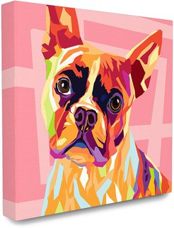 Stupell The Stupell Home Decor Collection Vibrant Abstract Posterized Rainbow Dog with Pink Pattern Background