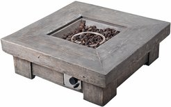 Peaktop Outdoor Retro Wood Look Square Propane Gas Fire Pit