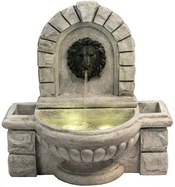 Peaktop Outdoor Lion Head Wall Fountain With Planters And Led Light
