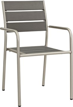 Modway Outdoor Shore Outdoor Patio Aluminum Dining Rounded Armchair