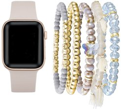 Posh Tech Light Pink Silicone Band For Apple Watch and Bracelet Bundle