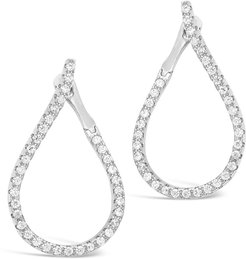 Sterling Forever Rhodium Plated CZ Studded Drop Earrings