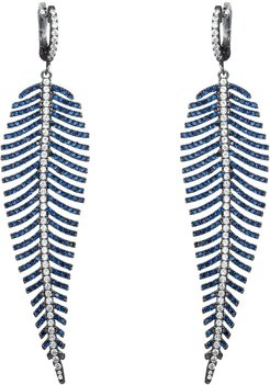 Eye Candy LA Luxe Collection Rhodium Plated CZ Feather Drop Earrings