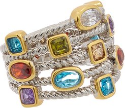 Juvell 18K Two-Tone Plated Gemstone Twisted Cable Multi Row Ring