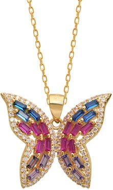 Gabi Rielle Gold Over Silver CZ Butterfly Pendant Necklace