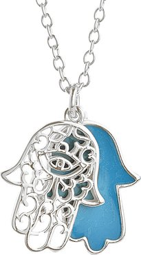 Sterling Forever Rhodium Plated Enamel Pendant Necklace