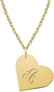 Jane Basch Hanging Heart 22K Over Silver Initial Pendant (A-Z)