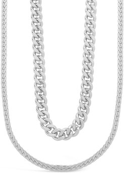 Sterling Forever Rhodium Plated Herringbone Chain Necklace